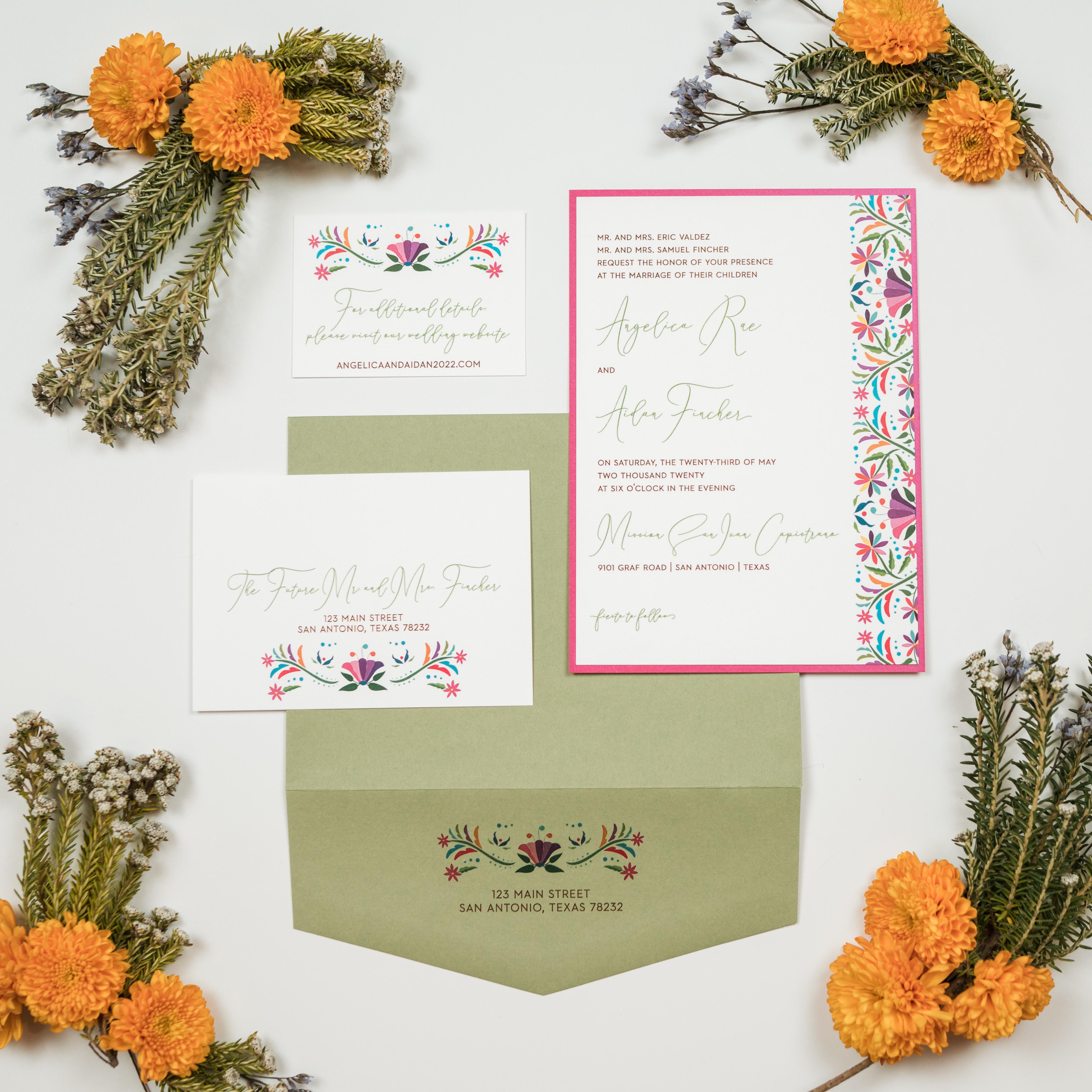 Fiesta Floral Wedding Invitation Suite - The Girl General
